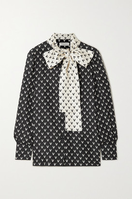 Valentino Pussy-bow Printed Silk-satin Blouse - Black