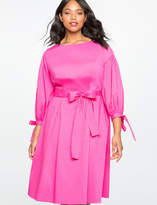 ELOQUII Plus Size Puff Sleeve Fit and Flare Dress