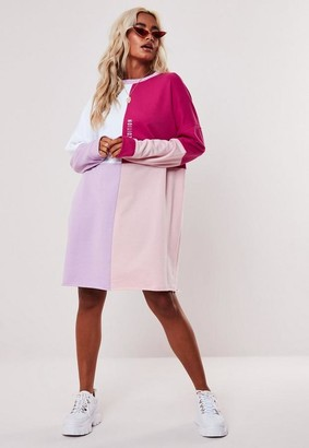 Missguided Pink Oversized Colorblock Sweater Dress
