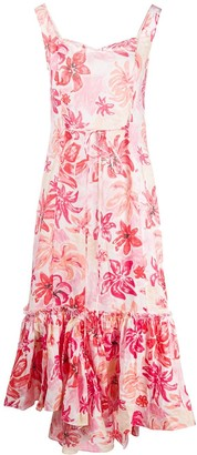 Marni Floral-Print Sweetheart-Neck Dress
