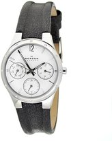 Skagen Women's 831SSLBW Dial Chronograph With Black Leather Band Watch
