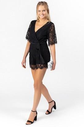 francesca's Lorelei Open Back Lace Romper - Black