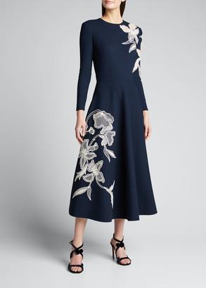 Oscar de la Renta Long-Sleeve Day Dress with Flower Embroidery
