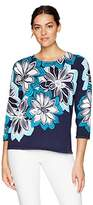 Alfred Dunner Women's Scenic Route Linear Floral Print Sweater 3/4 Slv