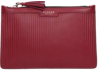 Visone Kim Striato Clutch In Bordeaux Leather
