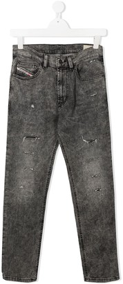 Diesel Distressed Straight Leg Jeans