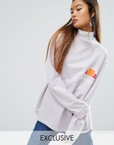 Ellesse Oversized Boyfriend Sweatshirt With High Neck And Vintage Chest Logo