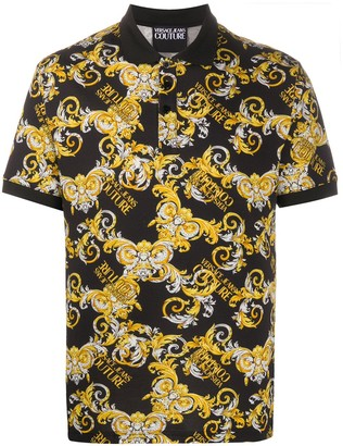 Versace Jeans Couture Logo Baroque Print Polo Shirt