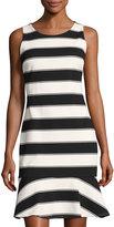 Cynthia Steffe Adrienne Sleeveless Striped Flounce Dress, Black/White