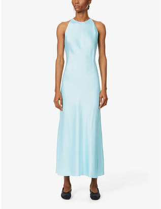 Rosetta Getty Cross-back satin maxi dress