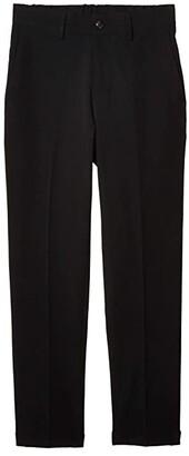 Kenneth Cole Reaction Stretch Solid Drawstring Slim Fit Flat Front Flex Wasitband Dress Pants (Black) Men's Dress Pants