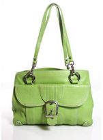 Isabella Fiore Green Leather Silver Tone Double Strap Shoulder Handbag