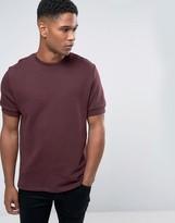 Asos Short Sleeve Sweatshirt In Burgundy