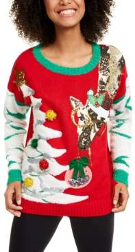 Hooked Up By Iot Hooked Up by Iot Juniors' Giraffe Christmas Sweater