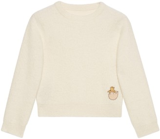 Gucci Knit wool crop sweater with patch