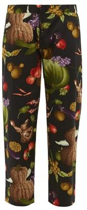 Nipoaloha - Fruit And Vegetable-print Cotton Trousers - Mens - Black