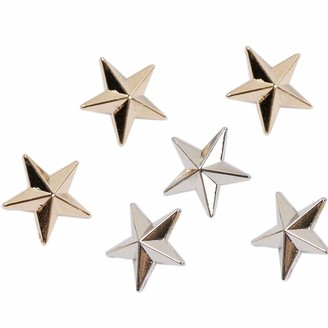 Lankater 6Pcs Mini Shirt Collar Nail Pentagram Rivet Jewelry Corsage Safety Pin Brooch