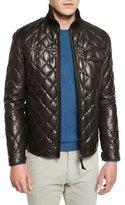 Ermenegildo Zegna Quilted Leather Down Jacket, Chocolate