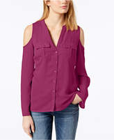 INC International Concepts I.n.c. Petite Button-Front Cold-Shoulder Top, Created for Macy's