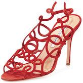 Manolo Blahnik Gori Squiggly High-Heel Sandal, Red