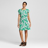 Merona Women's Floral Ruffle Sleeve Dress Green Floral