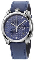 Calvin Klein CONTROL POLISHED/BRUSH SS CASE, BLUE DIAL, BLUE LTHR, 46MM