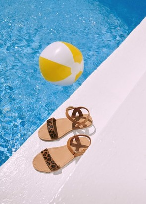 MANGO Leopard leather sandals
