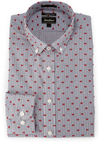 Neiman Marcus Extra-Trim Fit Striped Clip-Dot Dress Shirt, Red/Navy