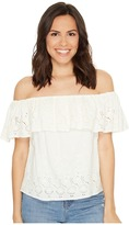 Lucky Brand Eyelet Off the Shoulder Top Women's Short Sleeve Pullover
