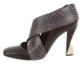 Balenciaga Snakeskin-Trimmed Square-Toe Pumps