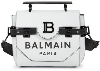 Balmain Buzz Logo Leather Messenger Bag