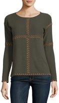 Neiman Marcus Cashmere Suede-Stitch Sweater, Green