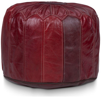 Stone & Leigh Finnell Leather Pouf, Dark Red