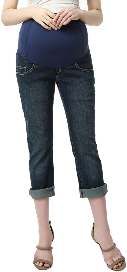 Thumbnail for your product : Kimi and Kai Jodie Crop Girlfriend Maternity Jeans