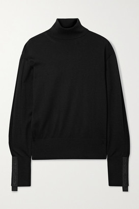 Burberry Oversized Embroidered Canvas-trimmed Merino Wool And Silk-blend Turtleneck Sweater - Black