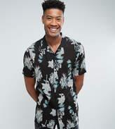 Asos Tall Regular Fit Viscose Floral Print Shirt With Revere Collar