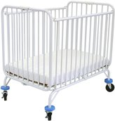 L.A. Baby L.A.BABY 882 commercial grade dekuxe holiday crib with new features -3-inch mattress & 3 in. double wide wheels- White