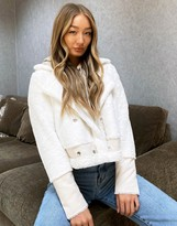 Thumbnail for your product : Qed London faux fur aviator jacket in cream