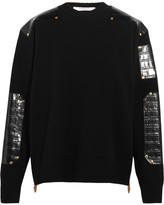 Givenchy Sweater In Croc-effect Leather-trimmed Wool - Black