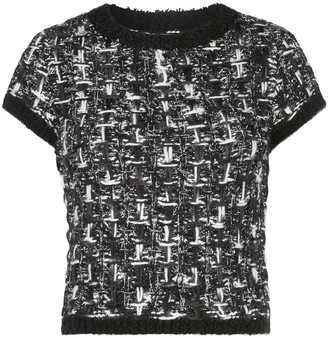 Alice + Olivia Ciara short-sleeved tweed top