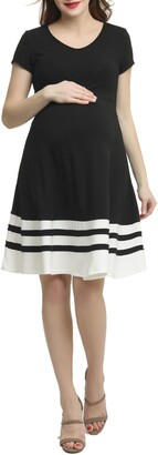 Kimi and Kai Theresa Colorblock Maternity Skater Dress
