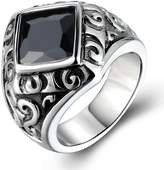 BOHO Jewelry Mens Stainless Steel Vintage Cz Ring,Polished Caved,Black Silver