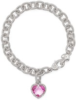 Judith Ripka Sterling Silver Single Heart Charm Bracelet with Lab-Created Pink Corundum