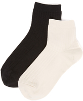 Madewell Two Pack Ribbed Heather Ankle Socks
