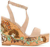 Paloma Barceló floral patch wedge sandals
