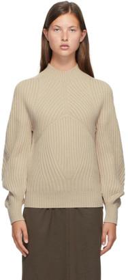 Low Classic Beige Whole Garment Raglan Turtleneck