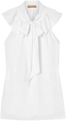 Michael Kors Pussy-bow Ruffled Silk-crepe Blouse