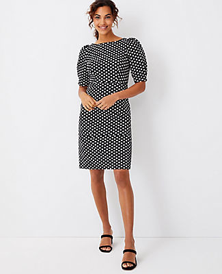 Ann Taylor Polka Dot Pleated Puff Sleeve Sheath Dress