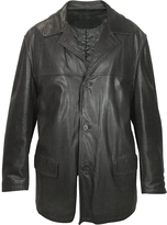 Forzieri Men's Black Leather Jacket