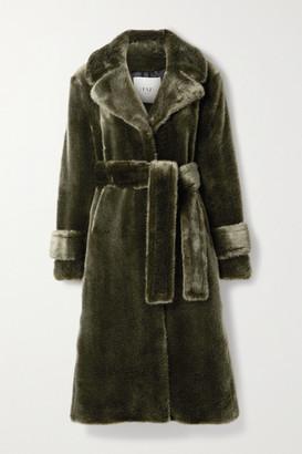 FAZ NOT FUR Soldier Belted Faux Fur Coat - Dark green